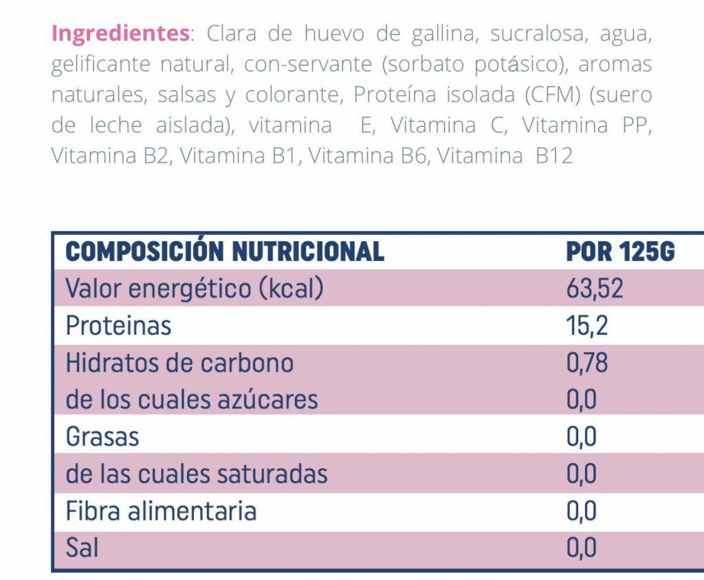 Valores nutricionales flanes FlanCell de LightCell